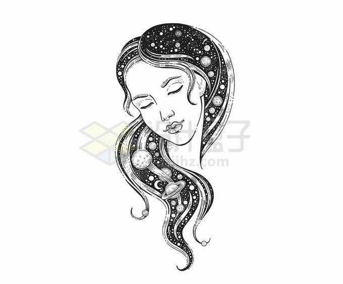 抽象风格黑白色女性插画头发是星空1301787矢量图片免抠素材