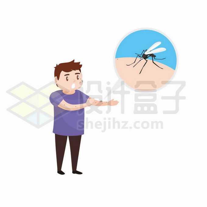 一只蚊子正在卡通男人手臂上吸血2112691矢量图片免抠素材免费下载