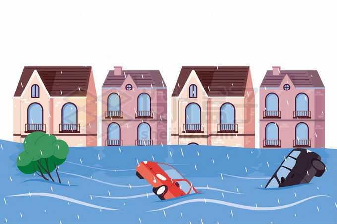 被洪水淹没的房子和漂浮在水面上的汽车1287287矢量图片免抠素材免费下载