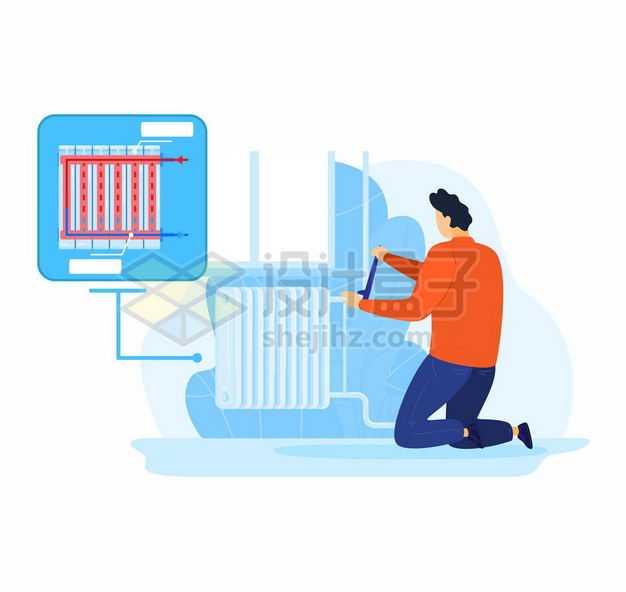 维修工人正在维护壁挂式取暖器散热器4793619矢量图片免抠素材