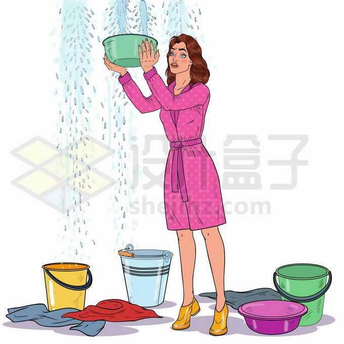 屋顶漏水正在拿着盆子水桶接水的女人1902977矢量图片免抠素材免费下载