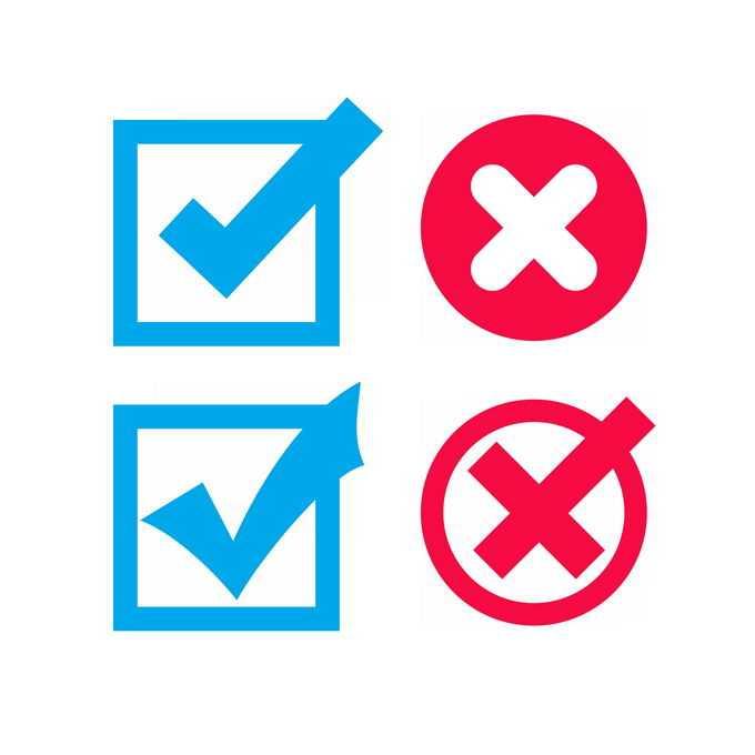 2款蓝色对号和红色叉号图案7709201图片免抠素材免费下载