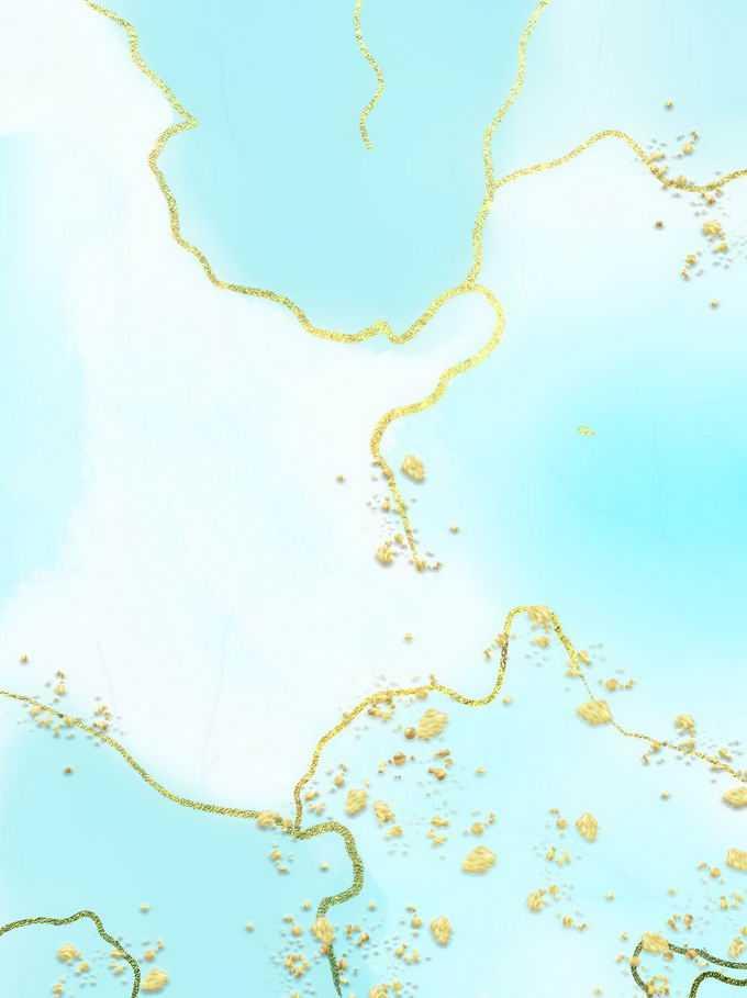 绚丽的金粉条纹装饰的天蓝色大理石水磨石纹理背景8305979免抠图片素材