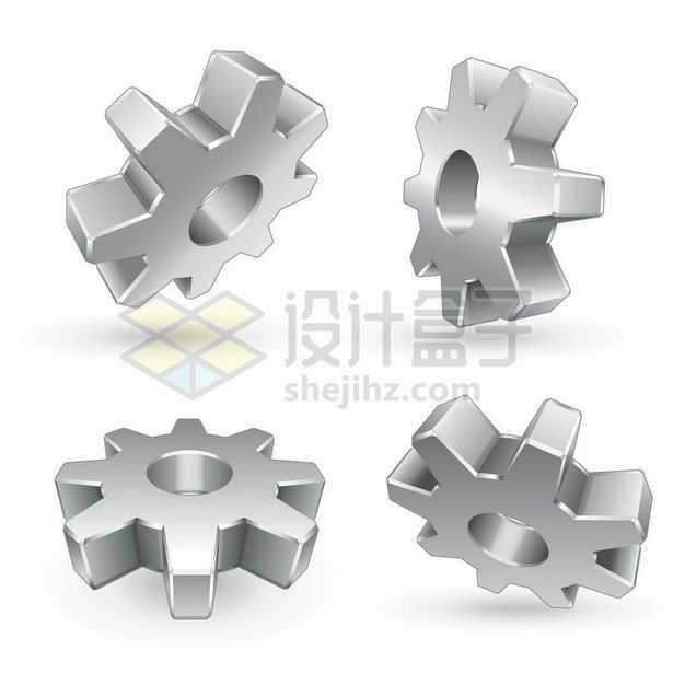 4个不同角度的银灰色3D立体齿轮6192740矢量图片免抠素材