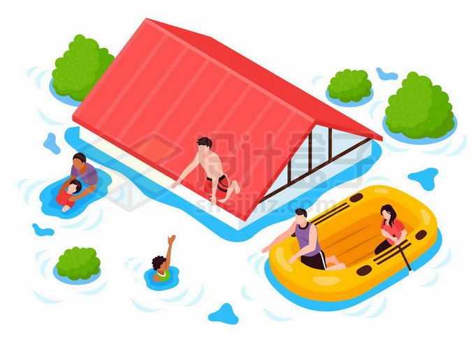 洪涝灾害中被洪水包围的房子和救援人员6028013矢量图片免抠素材免费下载