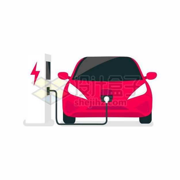 扁平化风格正在充电桩上充电的红色电动汽车新能源5792890矢量图片免抠素材