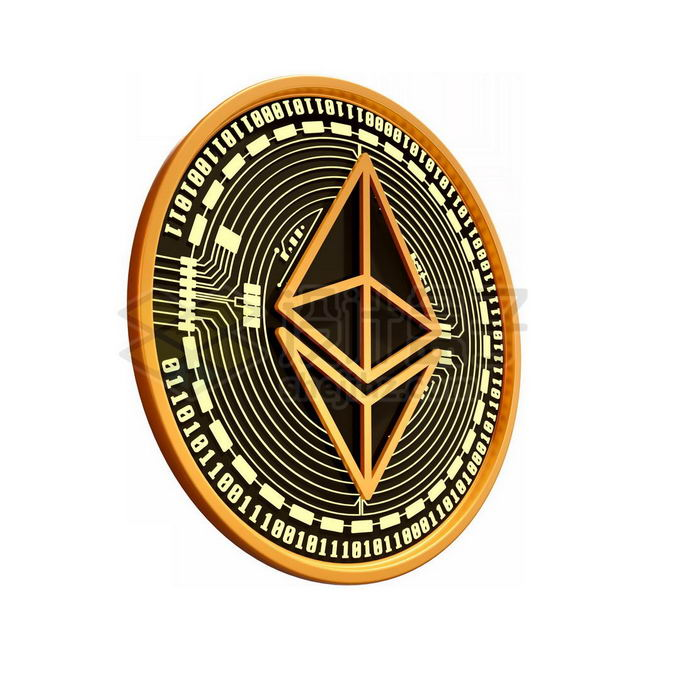 3D立体风格黑金色金属以太币硬币金币4006474免抠图片素材 金融理财-第1张
