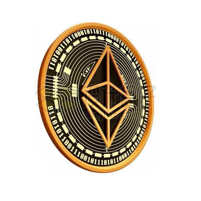 3D立体风格黑金色金属以太币硬币金币4006474免抠图片素材