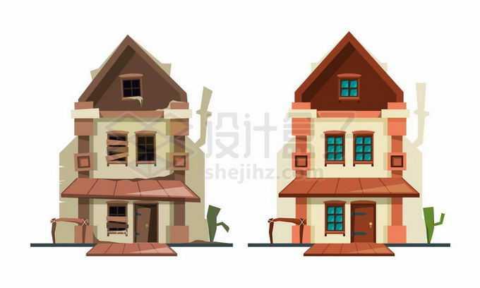破败不堪的卡通小别墅房子建筑对比图2623184矢量图片免抠素材免费下载