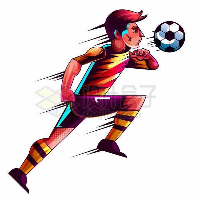 踢足球的运动员手绘漫画插画8609506矢量图片免抠素材