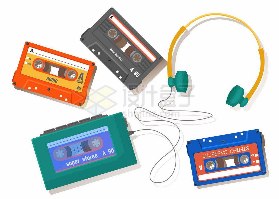 磁带随身听和耳机以及一些歌曲磁带复古音乐播放器3389272矢量图片免抠素材