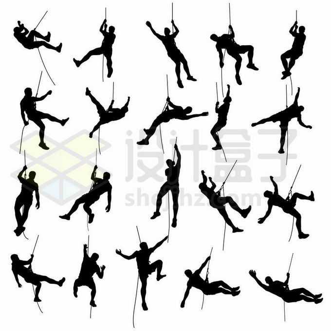 20款挂在绳子上攀岩的爬山者剪影8536628矢量图片免抠素材免费下载