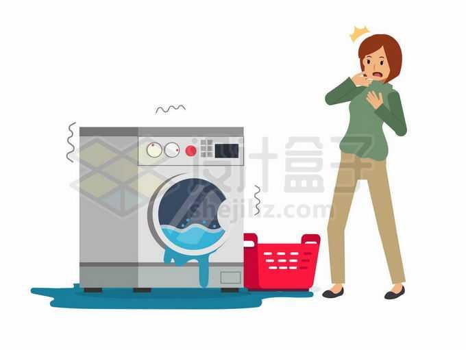 一台损坏的洗衣机4121730矢量图片免抠素材免费下载