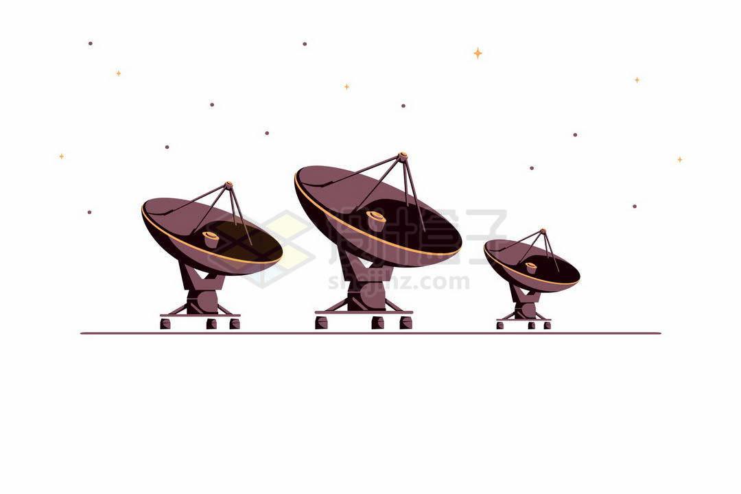 红岸基地中的射电望远镜阵列插画3691442矢量图片免抠素材