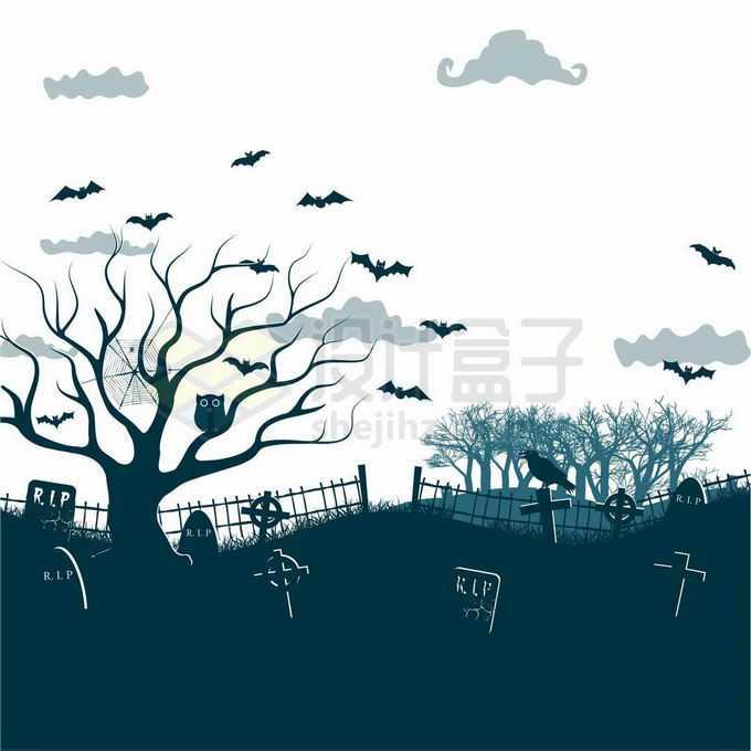 夜晚的坟地墓园中的墓碑枯树猫头鹰和空中的蝙蝠恐怖剪影4620066矢量图片免抠素材