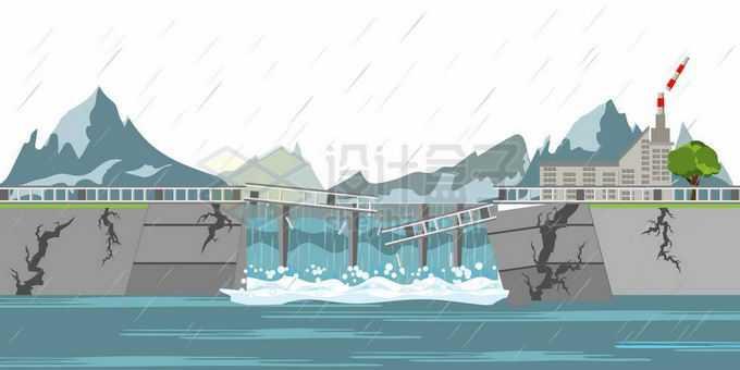 特大暴雨后被洪水冲垮的堤坝洪涝灾害9665772矢量图片免抠素材免费下载