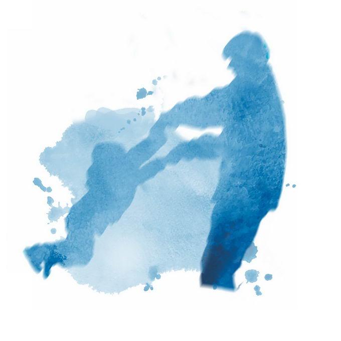 父亲节爸爸拉着孩子的手臂转圈圈剪影水彩画插画1120848矢量图片免抠素材 节日素材-第1张