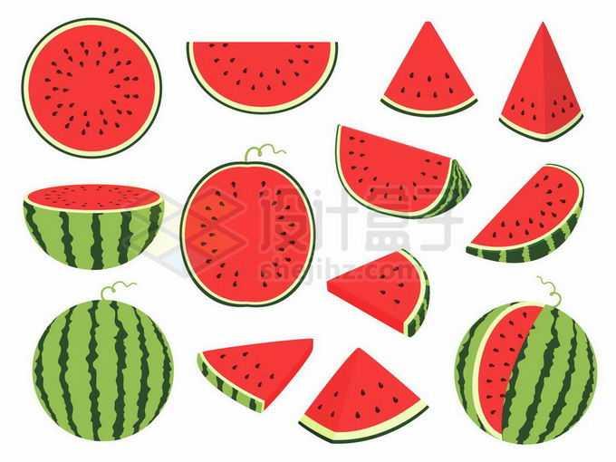 各种各样的西瓜美味水果切开的水果3636446矢量图片免抠素材