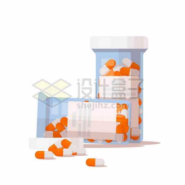 扁平化风格的装满药品胶囊的药瓶3414595矢量图片免抠素材