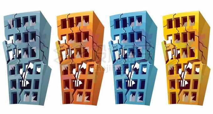 4种颜色的破裂破败不堪的卡通大楼建筑物2807983矢量图片免抠素材免费下载