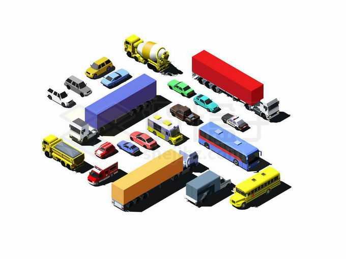 各种2.5D风格大卡车大巴车水泥车矿车校车轿车等汽车9911104矢量图片免抠素材免费下载