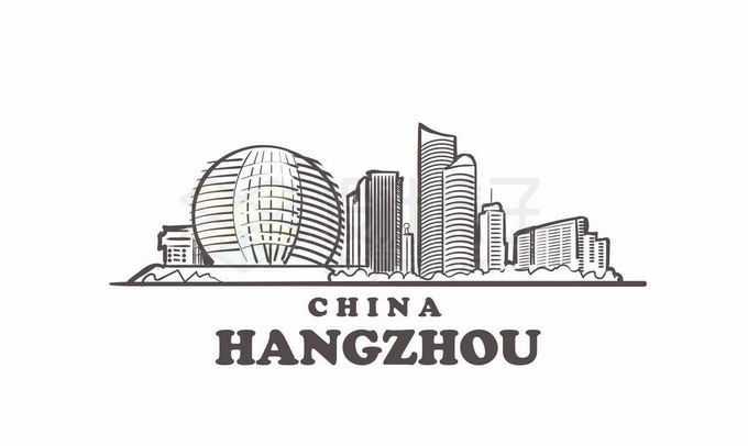 黑色线条杭州洲际酒店城市地标建筑手绘插画7293312矢量图片免抠素材免费下载