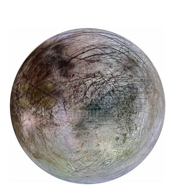 彩色木星卫星木卫二png免抠高清图片素材 科学地理-第1张