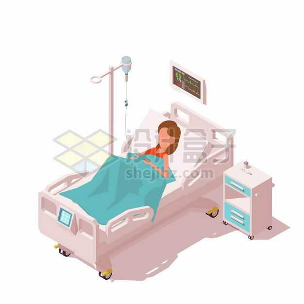 2.5D风格病床上躺着的卡通病人正在吊盐水1535220矢量图片免抠素材
