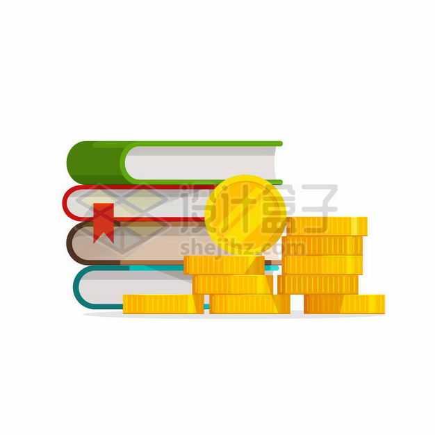 卡通书本和金币象征了知识就是金钱赚钱2161623矢量图片免抠素材