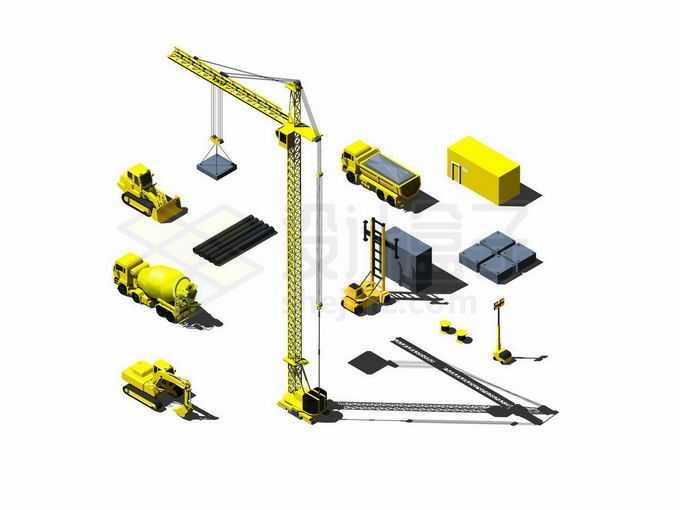 2.5D风格黄色塔吊和建筑工地上的水泥车吊车叉车卡车等2716341矢量图片免抠素材免费下载