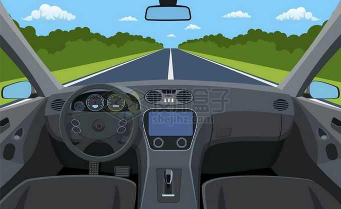 汽车内部第一人称视角车内视角车窗视野效果车外风景3987114矢量图片免抠素材