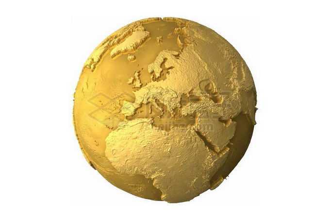 金色的3D地球模型1104298png免抠图片素材