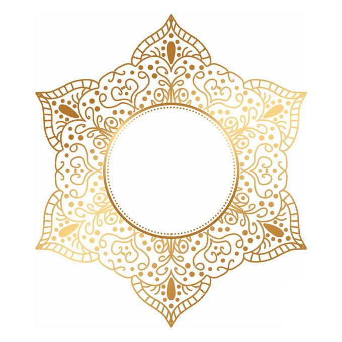 金色宗教复古复杂花纹装饰6304353矢量图片免抠素材 装饰素材-第1张