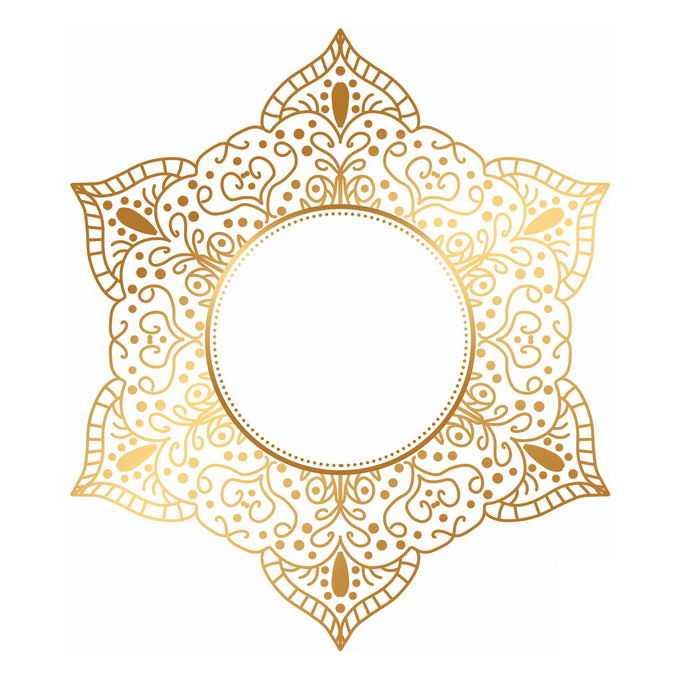 金色宗教复古复杂花纹装饰6304353矢量图片免抠素材