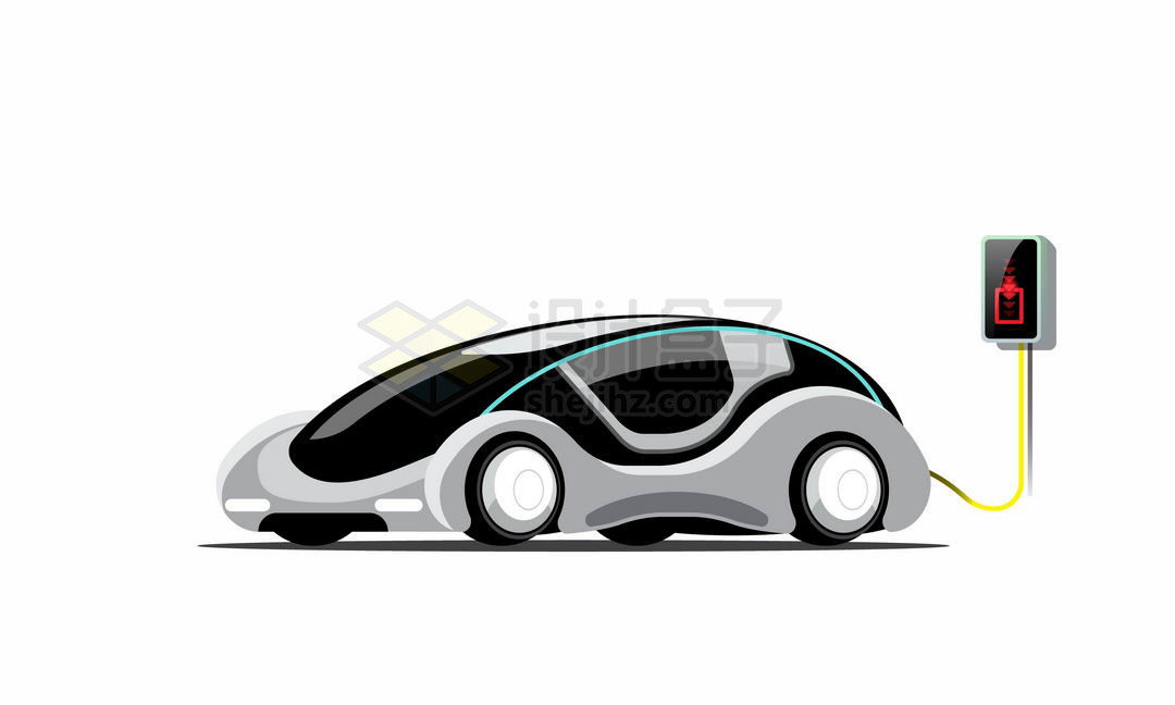 正在充电中的未来科幻风格电动汽车3401738矢量图片免抠素材