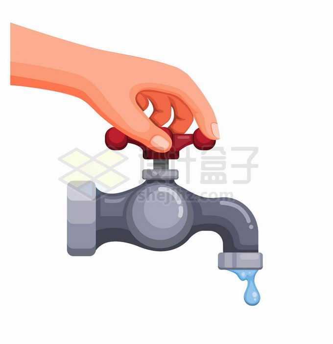 一只手正在拧开关闭水龙头节约用水插画2923463矢量图片免抠素材免费下载