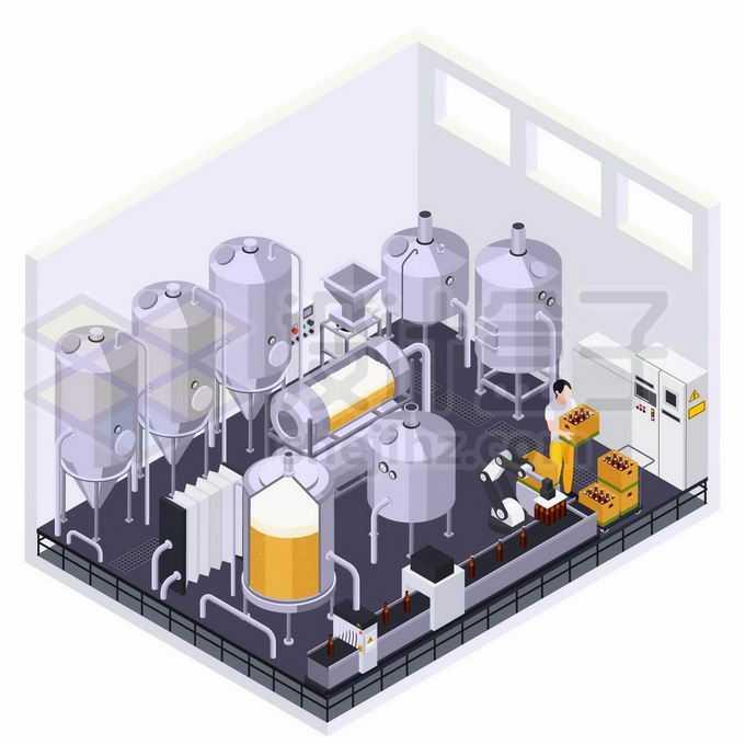2.5D风格啤酒厂生产设备6395045矢量图片免抠素材免费下载