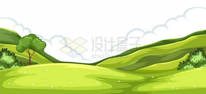 远处的青山丘陵和近处的青青大草原卡通风景图4221038矢量图片免抠素材免费下载
