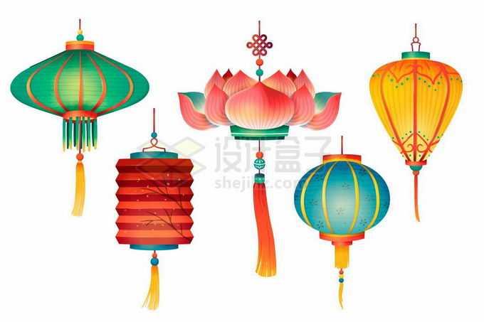 5款中国风彩色灯笼3474068矢量图片免抠素材免费下载