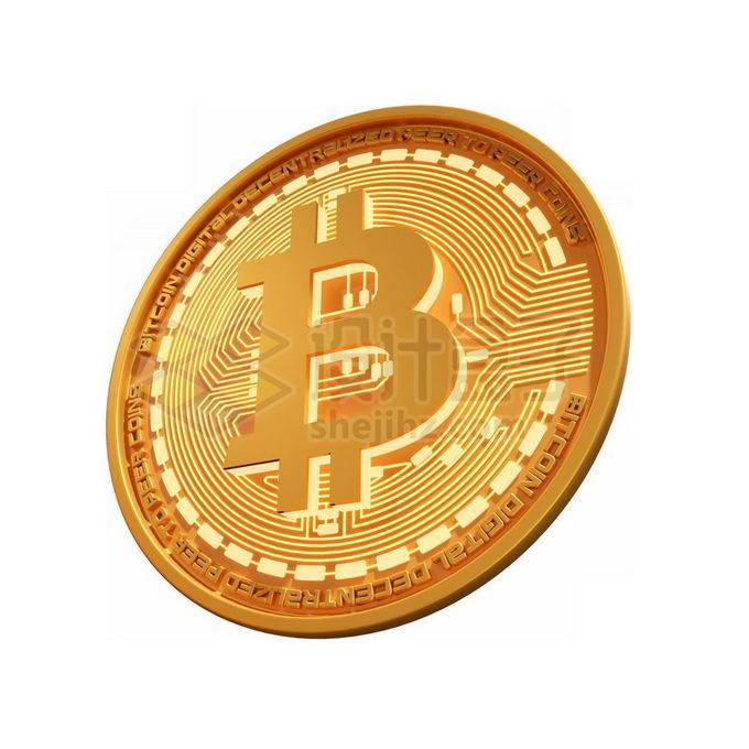 3D立体风格金色金属比特币硬币金币7870941免抠图片素材 金融理财-第1张