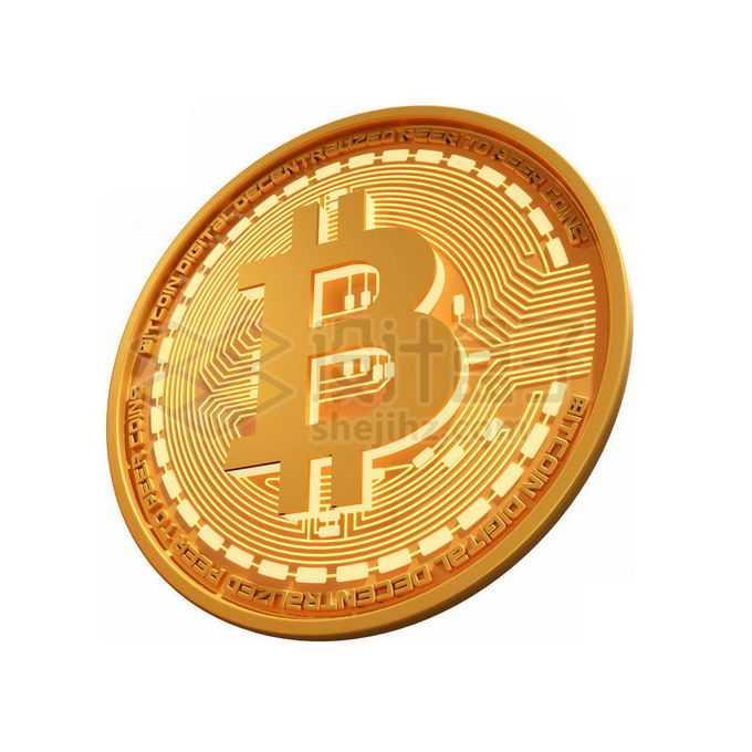 3D立体风格金色金属比特币硬币金币7870941免抠图片素材