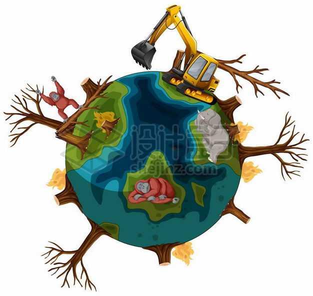 热带雨林滥砍滥伐红毛猩猩失去家园被破坏的卡通地球和挖掘机9507579矢量图片免抠素材