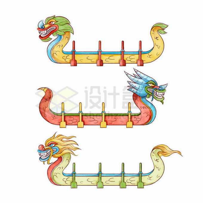3款中国风龙舟侧面图插画2340986矢量图片免抠素材