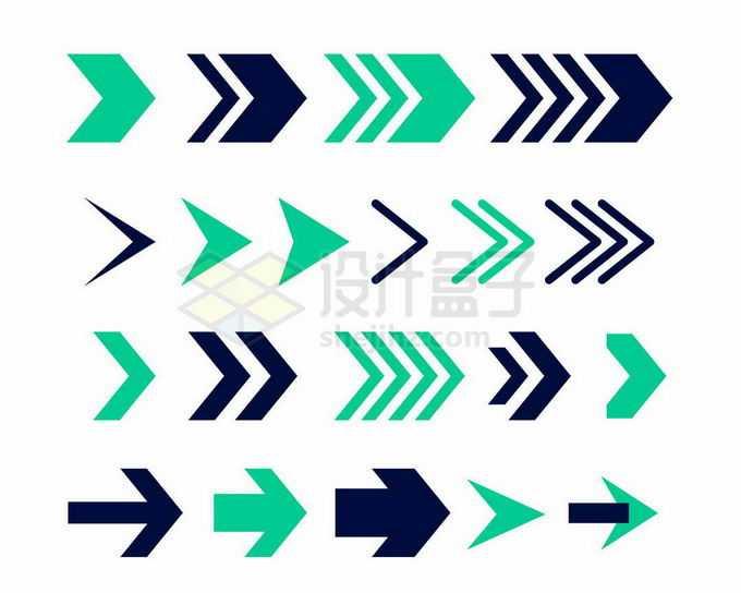 各种绿色和黑色的方向箭头快进箭头图案9710416矢量图片免抠素材