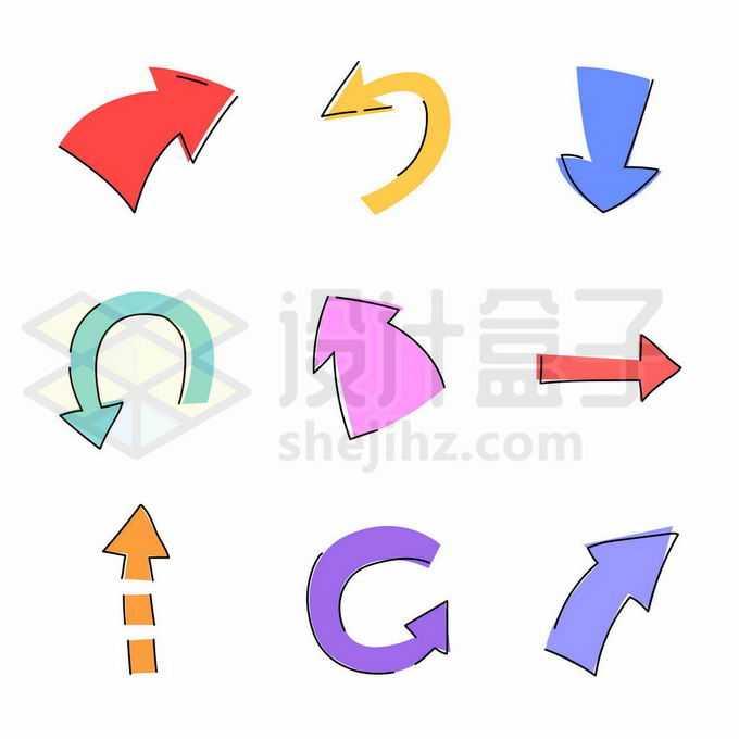 9款卡通风格方向箭头8173321矢量图片免抠素材免费下载