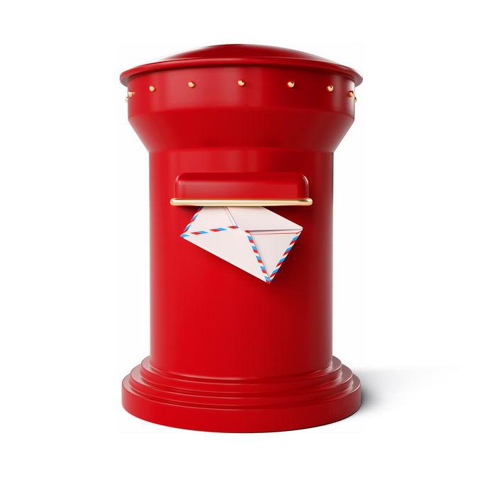 3D立体风格圆柱形复古红色邮筒3920300矢量图片免抠素材 建筑装修-第1张