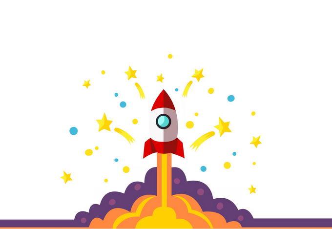 扁平化风格卡通火箭正在起飞中4602870图片免抠素材免费下载 军事科幻-第1张