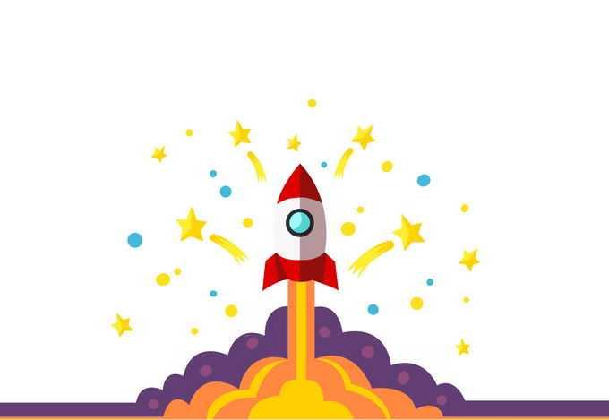 扁平化风格卡通火箭正在起飞中4602870图片免抠素材免费下载