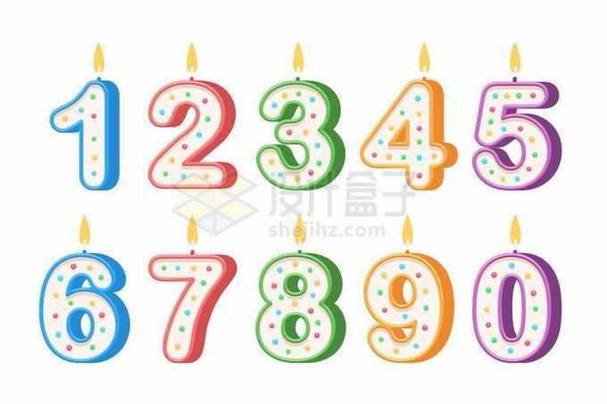 3D卡通风格儿童生日蜡烛数字蜡烛2137357矢量图片免抠素材