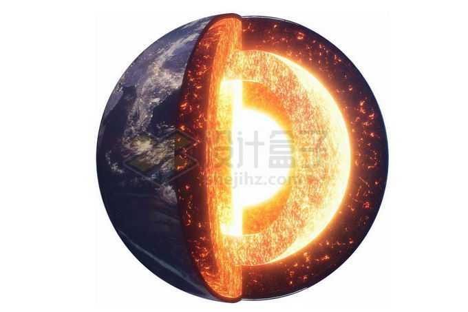 写实风格地球内部结构地壳地幔地核分层展示3714712png免抠图片素材